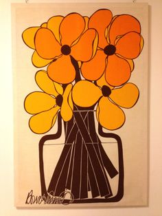 70's Mod fabric panel - Orange Yellow Brown Flowers in a Vase