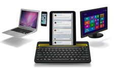 Bluetooth Multi-Device Keyboard A wireless desk keyboard for your computer, tablet and smartphone. Just turn the Easy-Switch dial to switch typing between three connected Bluetooth wireless devices. Latest Tech Gadgets, Cool Gadgets, Buy Computer, Computer Keyboard, Computer Tips, Smartphone, Bluetooth Keyboard, Gadget Man, Gadget News
