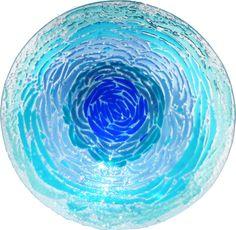 Big Ocean fused art glass platter
