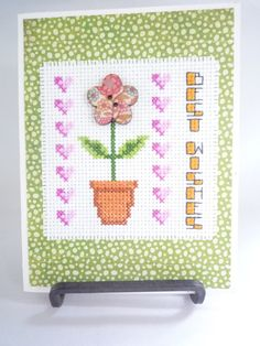 Best Wishes hand stitched greeting card by HMCrafters on Etsy