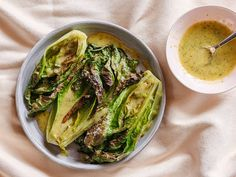 Charred lettuce is deeply flavored, a great vehicle for a creamy dressing, and so much better than cold lettuce could ever be. Escarole Recipes, Fresh Herbs, Lettuce, Cabbage, Salads, Vegetarian, Vegetables, Food Ideas, Cabbages