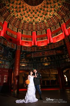 Travel across the Pacific Ocean (or the World Showcase Lagoon) for wedding photos in China #Epcot #wedding