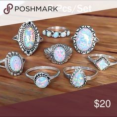 8 pc Set Silver Vintage Rings Cute stackable knuckle rings. Brand new Jewelry Rings