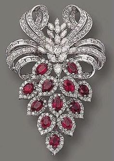 Ruby and diamond brooch #rubyjewelry #GemstoneBrooches