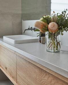 The Airlie Vanity boasts a streamline design incorporating deep drawers with a timber detailed finge Minimal Bathroom, Modern Bathroom Design, Bathroom Interior Design, Bath Design, Oak Bathroom Vanity, White Bathroom, Master Bathroom, Bathroom Canvas, Vanity Sink