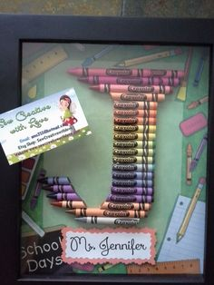 teacher gift crayon letter framed art letter j