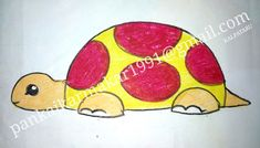 Easy tortoise painting with oil pastel by Pankaj Karmakar Crayon Drawings, Small Drawings, Art Drawings For Kids, Easy Drawings, Kids Art Class, Art For Kids, Scenery Drawing For Kids, Easy Painting For Kids, Tortoise Drawing