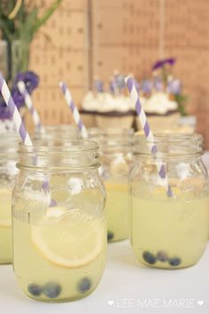 lemonade with blueberries  Purple & Gold Graduation Dessert Table by LeeMaeMarie - LeeMaeMarie