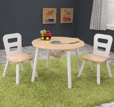 Kid Kraft Round Table & 2 Chair Set white/Natural - 27027