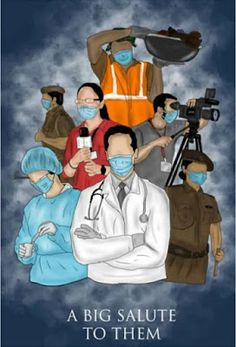 Big salute to Doctors, Police, health workers, social workers Earth Drawings, Cool Art Drawings, Pencil Art Drawings, Art Drawings Sketches, Drawing Competition, Nurse Art, Warrior Drawing, Poster Drawing, Art Inspiration Drawing
