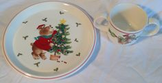 "Mikasa Child Size Christmas Set Plate/Mug ""Trim The Tree"" CC009 by OnceSoldNowNew on Etsy"