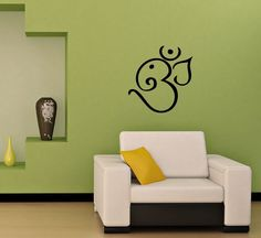 WALL VINYL STICKER DECALS ART MURAL OM SYMBOL BUDDHA SACRED INDIAN DESIGN SV1992