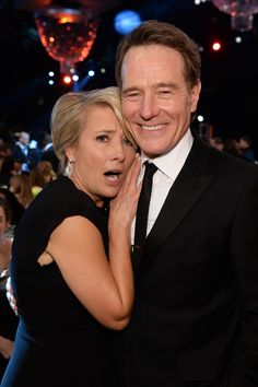 """Emma Thompson had a serious fangirl moment, getting up close and personal with """"Breaking Bad"""" star Bryan Cranston at the 2014 SAG Awards on Jan. Famous Celebrities, Celebs, Bryan Cranston, British Humor, Emma Thompson, Walter White, Sag Awards, British Actors, Best Tv Shows"""