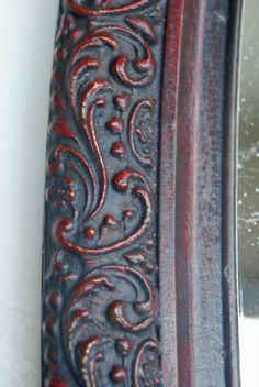 Victorian mirror in Emperor's Silk & Graphite wash. Dark wax. #ASchalkpaint Sold.