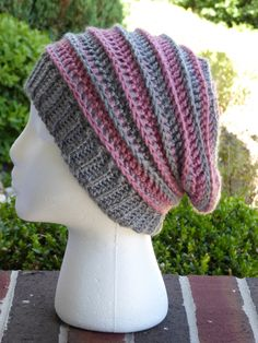 3c03c106cec Handmade Crochet Striped Slouchy Beanie Hat