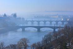'Bridges of Vltava - Prague' by Hercules Milas Love Bridge, Prague Czech, Urban Landscape, Hercules, Romantic Travel, Czech Republic, Framed Art Prints, Travel Mug, Mists