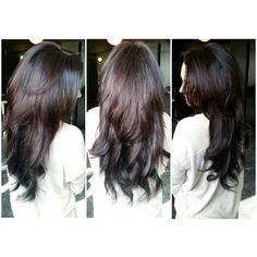 "Deep Purple Hair Color & 18"" Tape Hair Extensions #purplehair #color #longhair #style #hairextensions #tapehairextensions #curls #hair #tapeextensions"
