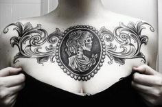 chest tattoo, would have to be more Victorian frame