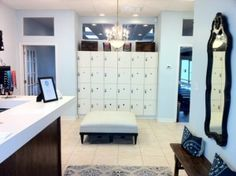 barre studio lobby - I really like this idea for lockers in the lobby for valuable vs putting a ton in the change rooms. Dance Studio Design, Dance Rooms, Home Dance, Dance Academy, Reception Design, Pilates Studio, Dream Studio, Changing Room, News Studio