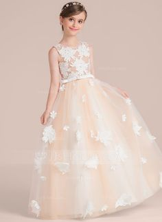 [US$ 82.19] Ball Gown Floor-length Flower Girl Dress - Satin/Tulle/Lace Sleeveless Scoop Neck With Flower(s)/Bow(s) (010136580)