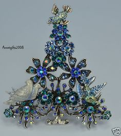 Kirks Folly I'll Have A Blue Christmas Tree Pin Brooch