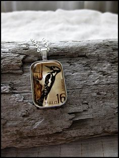 Postage Stamp Pendant  Mister Woodpecker Bulgaria c. by OhThePost, $25.00