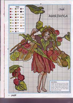 Cross stitch - fairies: Black bryony fairy - Cicely Mary Barker - close-up segment (chart)