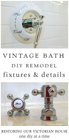 Totally DIY bathroom remodel— we used vintage & reproduction fixtures to complement our old house.