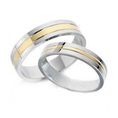 Alianza de boda bicolor para hombre con oro amarillo y oro blanco de 5 mm de ancho. Una alianza de boda diferente y original de diseño PENHALTA. Puedes adquirirlo en www.joyeriaydiamantes.com
