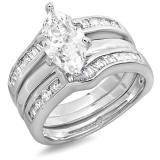 Share 3.50 CT Platinum Plated Ladies Marquise,Round & Baguette Cubic Zirconia CZ Wedding Bridal Engagement Ring with Matching Band Set (Available in size 6, 7, 8) - Dazzling Rock #https://www.pinterest.com/dazzlingrock/