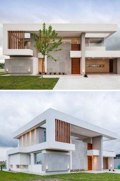 González y Asociados, Casa MV - house architecture House Outside Design, House Front Design, House Architecture Styles, Architecture Design, Facade Design, Exterior Design, Beautiful Modern Homes, Architectural House Plans, Architectural Styles