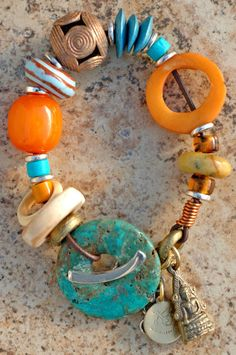 Designer Charm Bracelet | Amber | Turquoise | Buddha| XO Gallery | XO Gallery
