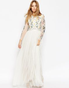 Image 1 of Needle & Thread Backless Sheer Sleeve Tulle Embellished Maxi Dress