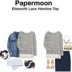Ellsworth Lace Hemline Top. Love the lace at the bottom