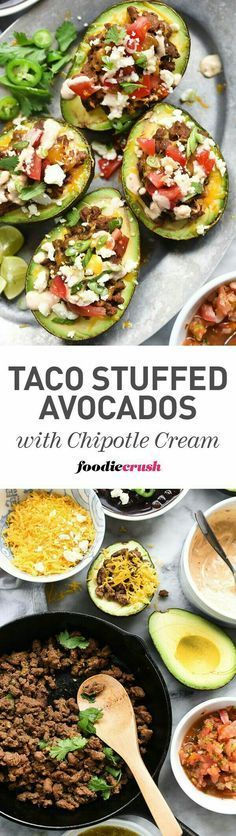 Taco Stuffed Avocados with Chipotle Cream - Creamy avocados are the shell for easy weeknight beef tacos with chipotle flavored sour cream for a taco night twist. Think Food, I Love Food, Good Food, Yummy Food, Mexican Food Recipes, Beef Recipes, Dinner Recipes, Cooking Recipes, Healthy Snacks