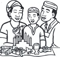 light the kwanzaa candles coloring page