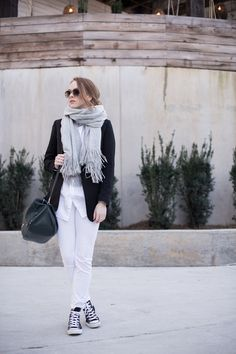 Casual outfit with blazer and converse and chic scarf and nine west travel bag | winter layers | MarahCAR