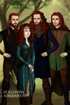 Merida And Her Brothers ALL GROWN UP! ~ by SleepingStar ~ created using the Modified Dolls doll maker   DollDivine.com