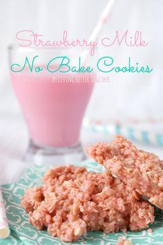 Strawberry Milk No Bake Cookies | www.livingbettertogether.com