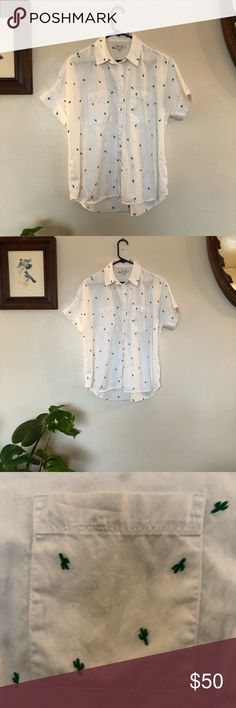 Madewell Embroidered Cactus Button Down Shirt I bought it as a medium and it was too big but I had already taken the tags off. I love this shirt, the embroidery is so detailed and adorable. It's a size medium and it's a slightly oversized fit. I'm selling it for $50, originally was $70. Madewell Tops Button Down Shirts