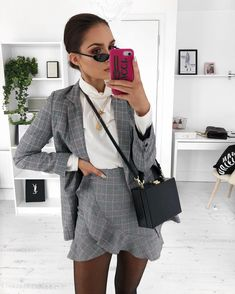 Double checks and double layers to venture out today ❄️ this skirt matched a blazer I already had and my co-ord obsessed self screamed a little. Outfit links on story. Classy Outfits, Fall Outfits, Casual Outfits, Cute Outfits, Blazer Outfits, Look Fashion, Autumn Fashion, Fashion Outfits, Womens Fashion