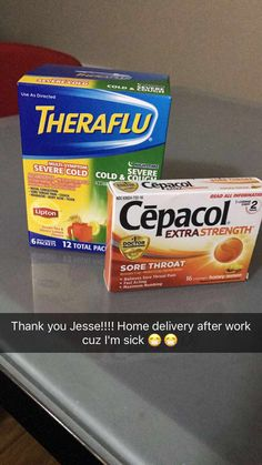 Thank you Jesse! Best friends ever! After a long shift at work working sick I come home to a delivery of meds to this dumb cold!  Couldn't ask for more from my friends 💛💛 #quinn #spoiled #thankful #bestfriendsever