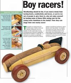 #1961 Wooden Toy Racing Car Plans - Wooden Toy Plans Woodturning