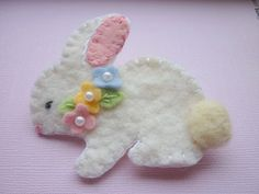 Felt Bunny Brooch Pin Spring Beaded Flowers Wool Felted
