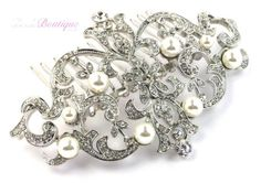 Bridal Wedding Vintage Antique Style Silver Crystal & Pearl Hair Slide Side Comb | eBay
