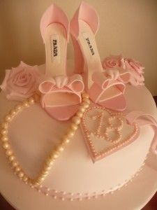 Pink Prada Shoe Cake for a gal 18 years old and ready to explore life. Cake has all she needs; shoes, pearls and faith.