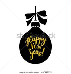 Happy New Year vector illustration with hand written lettering. Design element for greeting card.