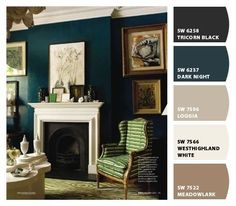 Sherman Williams SW 6237 Dark Night.  Something in my someday house needs to be this color.