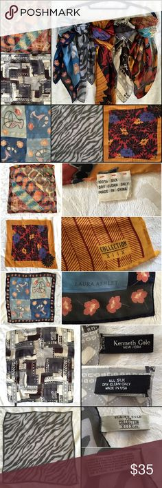 """Bundle of 5‼️ 100% Silk Printed Patterned Scarves Bundle of FIVE gorgeous silk scarves! Each scarf is 100% silk & has hand-rolled edges  #1 (Pic 2, top): Red/ Orange/ Blue earthy prints. 20 x 20"""" inches  #2 (Pic 2, middle): Collection XIIX. Yellow border; floral pattern. 31 x 31"""" inches  #3 (Pic 2, bottom): Laura Ashley. Navy border, flower print. 21 x 21"""" inches  #4 (Pic 3, top): Kenneth Cole. Gray brown black white abstract geometric print. 19 x 19"""" inches  #5 (Pic 3, bottom): Elaine Gold…"""