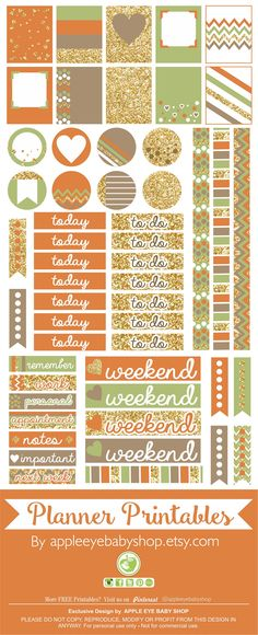 FREE Planner Printables | Filofax, Erin Condren, Life Planner, Agendas, Notecards, Organizing/Gift Labels, Notebooks, Stickers, Stationary, Journals, Plum Paper. DIY Crafts, Cricut or Silhouette Projects & more... Gold Glitter, Orange, Green Fall- Autumn. DOWNLOAD - PRINT & CUT. By Apple Eye Baby Shop